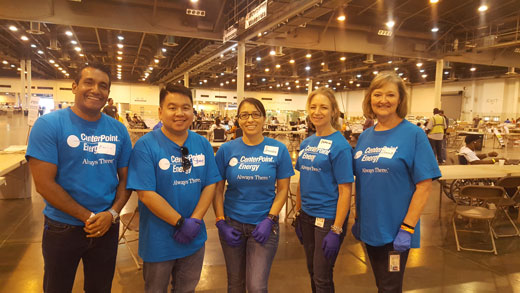 From left to right, members of corporate auditing volunteering at Salvation Army Harvey Hub: Marco Martinez, Steve Tran, Jennifer Duarte, Catherine Fullen, Glenna Knight