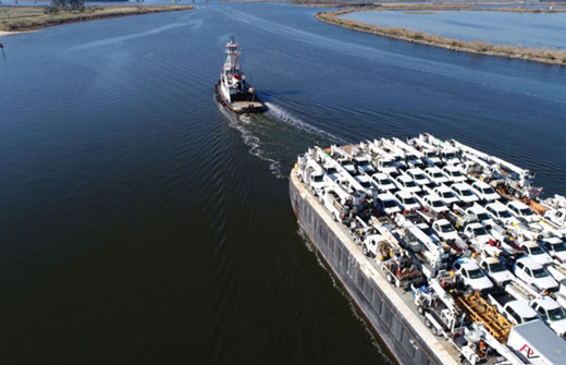 Barge Maximus with Trucks traveling to Puerto Rico